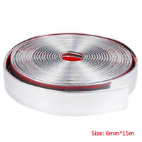 15M Chrome Moulding Trim Strip Car Door Edge Scratch Guard Protector Cover 6mAaN