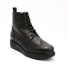 Marzetti 4361 Black Leather Sheepskin Lace-Up Ankle Wedge Boots 40 / US 10