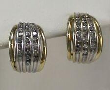 Estate Diamond Omega Back Earrings in 14kt Yellow Gold