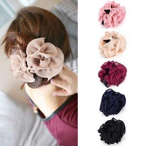 Fashion Womens Chiffon Rose Flower Bow Jaw Clip Barrette Hair Claw Gift DG WF