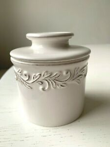 The Original Butter Bell Crock L. Tremain Antique White Linen NEVER USED MINT