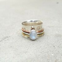 Rainbow moonstone Solid 925 Sterling Silver band Ring Meditation Ring Size sr125