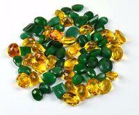 Emerald & Citrine Loose Gemstone Wholesale Lot Natural Mix Shape