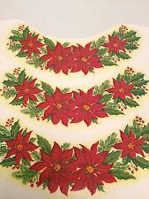 Red poinsettia border decals for ceramics lot of 48