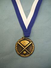 Gold Baseball medal Blue/White neck drape trophies