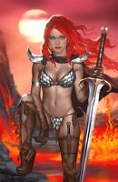 🚨🔥🗡 RED SONJA THE SUPERPOWERS #1 JOSH BURNS Virgin Variant Ltd 500 COA NM