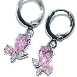 Pink Crystal Butterfly Dangle Drop Earrings For Womens Girls Party Jewelry Cute