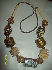 """Vintage CHUNKY Huge 25"""" Mixed Brass Plastic Resin Beaded Necklace-HTF"""