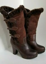 FRYE Ella Shearling Clog Boots Brown Leather Sheepskin Buckle Fold Over - 7.5 B