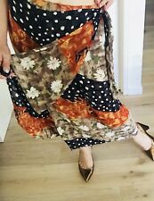 GEOFF BADE WOMENS SKIRT WRAP Alike RAYON ACETATE MADE IN AU FLORAL SPOTS SZ 14