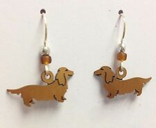 sterling french hook ear wires, Usa Dachshund - Long Hair Earrings -beads,
