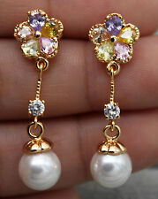 "18K Yellow Gold Filled - 1.3"" Noble Pearl Flower Topaz Women Cocktail Earrings"