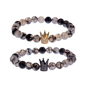 Fashion Couple His And Hers Distance Bracelets Weathering Agate CZ Crown Lovers