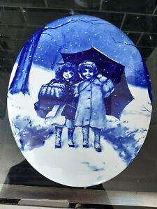 Oval blue and white children scene pottery plaque 25 1/2 cm x 20 1/2 cm Exc cond