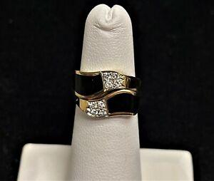 BERNARD PASSMAN RIVERWALK COLLECTION 18K GOLD BLACK CORAL DIAMOND RING SIZE 5