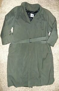 MISTY HARBOR Green Zip In Lining Trench Coat Size 40 Reg