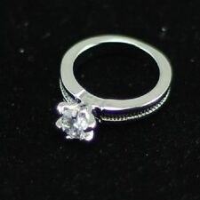 silver tone round diamond cut style crystal ring UK size N