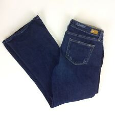 Paige Laurel Canyon Jeans 32x30 Boot Cut Stretch Low Rise Dark Blue Distressed