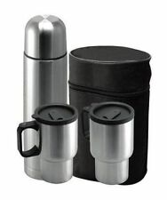4PC STAINLESS STEEL HOT & COLD VACUUM THERMOS FLASK TEA COFFEE + 2 MUGS + BAG