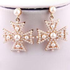 Chic Women Faux Pearl Cross Charm Snowflake Dangle Drop Ear Stud Earring Craft