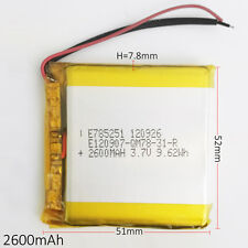 2600mAh 3.7V Li-Polymer ion Battery For Power Bank mobile phone PDA GPS 785251