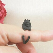 Matt Black Plated Cute Pomeranian Dog Ring Size N - Adjustable