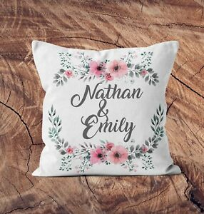 Personalised Cushion Cover Any Name Couple Anniversary Wedding Gift Floral