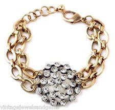 CHUNKY CHAIN CLEAR WHITE CRYSTAL RHINESTONE Designer Gold Link Tennis Bracelet