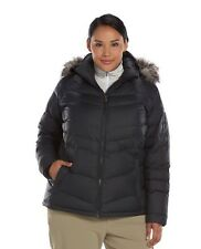 Womens Columbia Snow Beauty Black Hooded Down Coat Parka Puffer SZ 1X  NWT $210