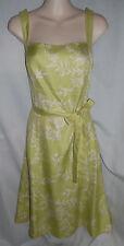 Ann Taylor Green Floral print 100% Silk belted sheath dress career 6 Worn Once