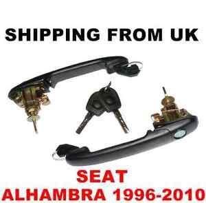 2 HANDLE + DOOR LOCK SET FRONT LEFT RIGHT 2 SAME KEYS for SEAT ALHAMBRA 42mm PIN