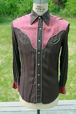 Vintage Western Duo-Tone Shirt w Yokes, Piping, Crescent Pockets, Pearl Snaps 42