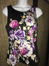 Women's NWT White House Black Market Floral Sleeveless Blouse Top Sz 2 -B10