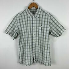 Kathmandu Mens Button Up Shirt Size Small White Plaid Short Sleeve Collared