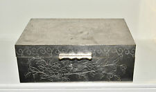 Vtg Chinese Silverplated Metal Dragon Box w/ Wood Lining