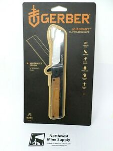 Gerber Quadrant Clip Folding Straight Edge Knife w/ Bamboo Wood Handle *NEW*