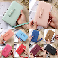 Long Card Phone Holder Wallet Womens Clutch Purse With Bowknot Pocket Hangbag