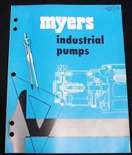 MYERS INDUSTRIAL WATER PUMPS ADVERTISING SALES BROCHURE 1956 VINTAGE