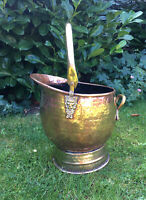 "Vintage Hammered Copper & Brass Coal Scuttle Bucket Large 13"" Tall 10""Wide"
