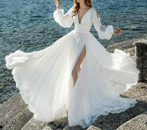 White Chiffon Wedding Dress NWOT. Greek Style SZ 4-6. Beachy. Custom. Never worn