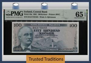 TT PK 44a 1961 ICELAND CENTRAL BANK 100 KRONUR PMG 65 EPQ GEM UNCIRCULATED!