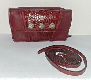 BRIGHTON Burgundy Red Leather Crossbody Bag Purse Wallet