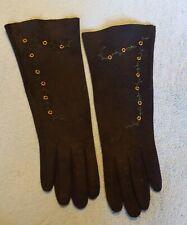 """One (1) Pair Vintage Black Suede """"Freddy-Gants"""" Paris Gloves: embellished - used"""
