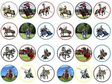 24 knights horses medieval fantasy horseback cupcake toppers  party edible paper