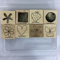 Stampin' Up! Sweet & Sassy Two Step Rubber Stamp Set of 8 Wood Mounted Stamps