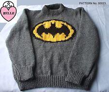 Jersey de los niños Suéter Pulóver Tejer patrón niños Batman de amor.
