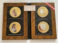 4 Medaillen Gigant 100 mm, Franciscus Josephus I, Österreich, Cu vergoldet