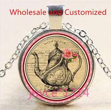 Vintage tea pot Cabochon Tibetan silver Glass Chain Pendant Necklace #4985
