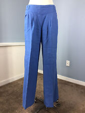 Soft Surroundings Blue 100% Linen Wide Leg Gaucho Pants Excellent S Work Casual