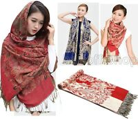 New Women's Fashion Floral 100% Cashmere Pashmina Soft Warm Wrap Shawl Scarf